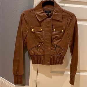 Bebe brown leather jacket size Xs new w/o tag